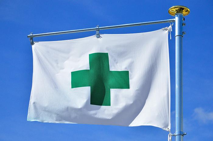 安全マークの旗